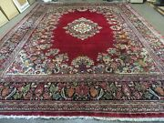 10and039 X 13and039 Antique Fine Hand Made India Floral Oriental Wool Rug Carpet Red Nice