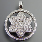 One Of A Kind 14k White Gold 2.20 Ctw Diamonds Star Of David Spinning Pendant