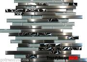 10sf- Unique Brushed Stainless Steel Glass Linear Mosaic Tile Kitchen Bath Sink