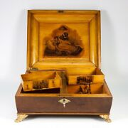 Antique C. 1790-1810 French Empire Gaming Or Game Box, Coffret, Chest With Chips
