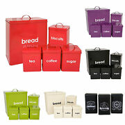 3/5 Pieces Bread Bin Sets Tea Coffee Sugar Biscuits Or Utensils Canisters Jar