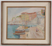 Frederick Serger 1889-1968 Mediterannean Harbor Oil Painting 1950and039s