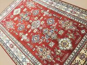 5and039.11 X 8and039.9 Red Beige Fine Geometric Oriental Area Rug Hand Knotted Wool