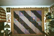 Straight Furrow Log Cabin W. Paisley Floral Border Antique Quilt Pa C.1875