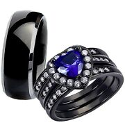 Heart Cut Her Sterling Silver Blue Sapphire His Titanium Wedding Ring Band Sets