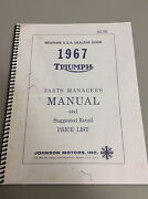 Triumph Motorcycle 1967  Parts Managers Manual Re-print