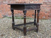 17th Century English Antique Oak Side Table Of Canted Form Circa 1680