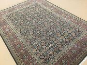 5'.1 X 7'.0 Navy Blue Rust Very Fine Geometric Oriental Rug Hand Knotted Wool