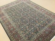 5and039.1 X 7and039.0 Navy Blue Rust Very Fine Geometric Oriental Rug Hand Knotted Wool