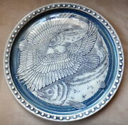 "11"" Fish & Eagle Pottery Plate - Good Thunder Art Studio - Ria Nickerson"