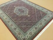 5and039.0 X 6and039.11 Red Very Fine Wool And Silk Geometric Oriental Rug Hand Knotted