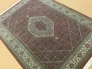 5and039 X 7and039 Red Beige Very Fine Wool And Silk Geometric Oriental Area Rug Hand Knotted