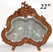 Gorgeous Vint. 1918 French Carved 22 Dresser Or Boudoir Vanity Mirror Rococo