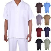 Menand039s 2pc Walking Suit Short Sleeve Casual Shirt And Pants Set Solid Color 2954