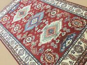 6'.1 X 9'.3 Red Beige Fine Geometric Oriental Area Rug Hand Knotted Wool Foyer