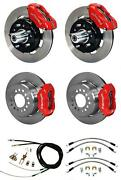 Wilwood 55-57 Bel Air 150 210 4 Wheel Disc Brake Kit 12 Plain Rotor Red Caliper