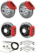 Wilwood 64-74 Chevy A F X Body 4 Wheel Disc Brake Kit 11 Drilled Red Caliper