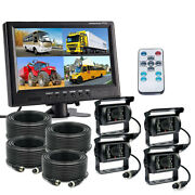 4 Ch 9 Monitor Truck Tractor Reversing Security System 4x Rear View Camera Kit