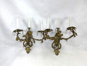 Two Wall Lights Candelabrum About 1820 France/switzerland Bronze Gold Plated