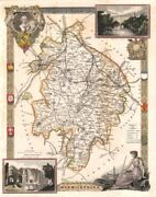 Warwickshire Antique Hand-coloured County Map. Railways. Moule C1840 Old