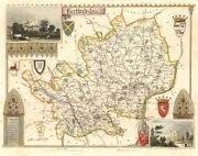 Hertfordshire Antique Hand-coloured County Map By Thomas Moule C1840 Old