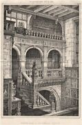 Staircase In Jacobean Style . England 1876 Old Antique Vintage Print Picture