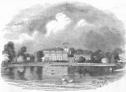 Staffs. Trentham Hall-from The Lake Antique Print 1843