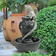 The Legendary Steely Eyed Gothic Viper Dragon Hand Painted Sculptural Fountain