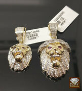 10k Yellow Gold With Diamonds Lion Head Red Eye Charm Pendent In Different Size