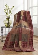 Rutherford Patchwork Quilted Throw Blanket Cotton 70x55 Country Primitive