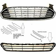Chrome Upper And Lower Radiator Grille Kit For Ford Fusion Titanium 2013-2016