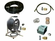 Sewer Jetter Cleaner Kit - Hd Foot Valve 150and039 X 1/4 Hose Reel And Nozzles