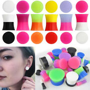1-4 Pairs Double Flared 2 Color Tone Silicone Ear Plugs Gauges Sets 6g-9/16 Usa