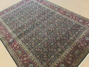 6'.2 X 8'.11 Navy Blue Red Fine Geometric Oriental Area Rug Hand Knotted Foyer