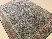 6and039.1 X 8and039.11 Navy Blue Rust Fine Geometric Oriental Area Rug Hand Knotted Wool