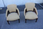 Gorgeous 19th C. Pair Of American Victorian Mahogany Side End Chairs On Casters