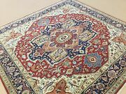 8' X 8' Square Red Navy Blue Fine Geometric Oriental Rug Hand Knotted Wool Foyer
