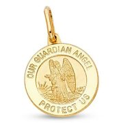 Our Guardian Angel Pendant Solid 14k Yellow Gold Medal Coin Charm Christian