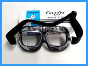Goggles Classic Style Motorcycle/ Flying. Penguin Clear Lens. Chrome Frame.