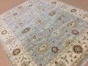 7and039.10 X 10and039.0 Light Blue Beige Ziegler All-over Oriental Area Rug Hand Knotted
