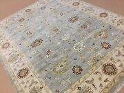 7'.10 X 10'.0 Light Blue Beige Ziegler All-over Oriental Area Rug Hand Knotted