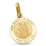 Guardian Angel Protect Us Pendant Solid 14k Yellow Gold Prayer Coin Charm