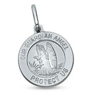 Our Guardian Angel Coin Pendant 14k White Gold Catholic Holy Spirit Charm Solid