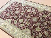 6and039.1 X 9and039.2 Red Beige Floral Agra Oriental Area Rug Hand Knotted Wool All-over