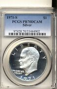 1971-s Silver Ike Dollar Pr70dcam Perfect White No Toning