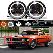 7 Led Headlight Drl Hi Low Beam Lamp With Halo Rings For Ford Mustang 1965-1978