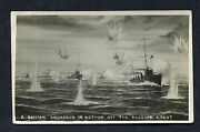 C1916 Ww1 Card View Of A British Naval Ships In Action Off The Belgium Coast