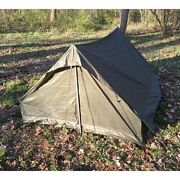 New French Army Issue Military Surplus Camping 2 Man F1 Pup Green Tent Shelter