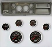 73-79 Ford Truck Silver Dash Carrier W/ 3-3/8 Concourse Series Black Gauges