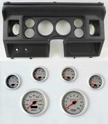 80-86 Ford Truck Black Dash Carrier W/ 3-3/8 Concourse Series Silver Gauges